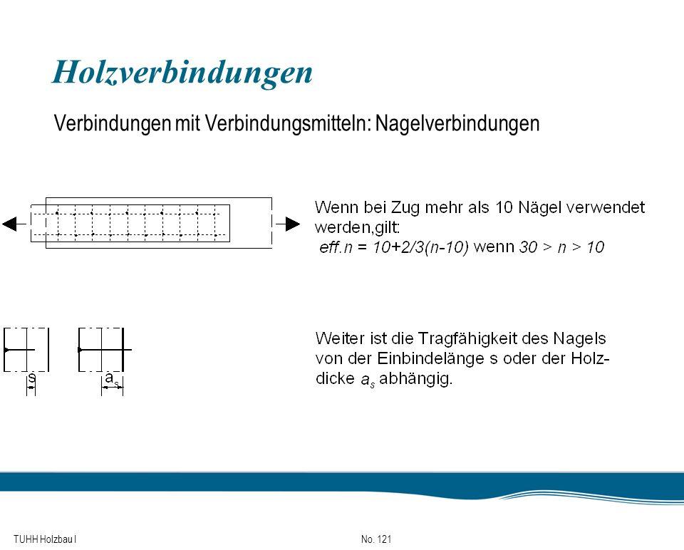 Holzverbindungen Verbindungen mit Verbindungsmitteln: Nagelverbindungen TUHH Holzbau I