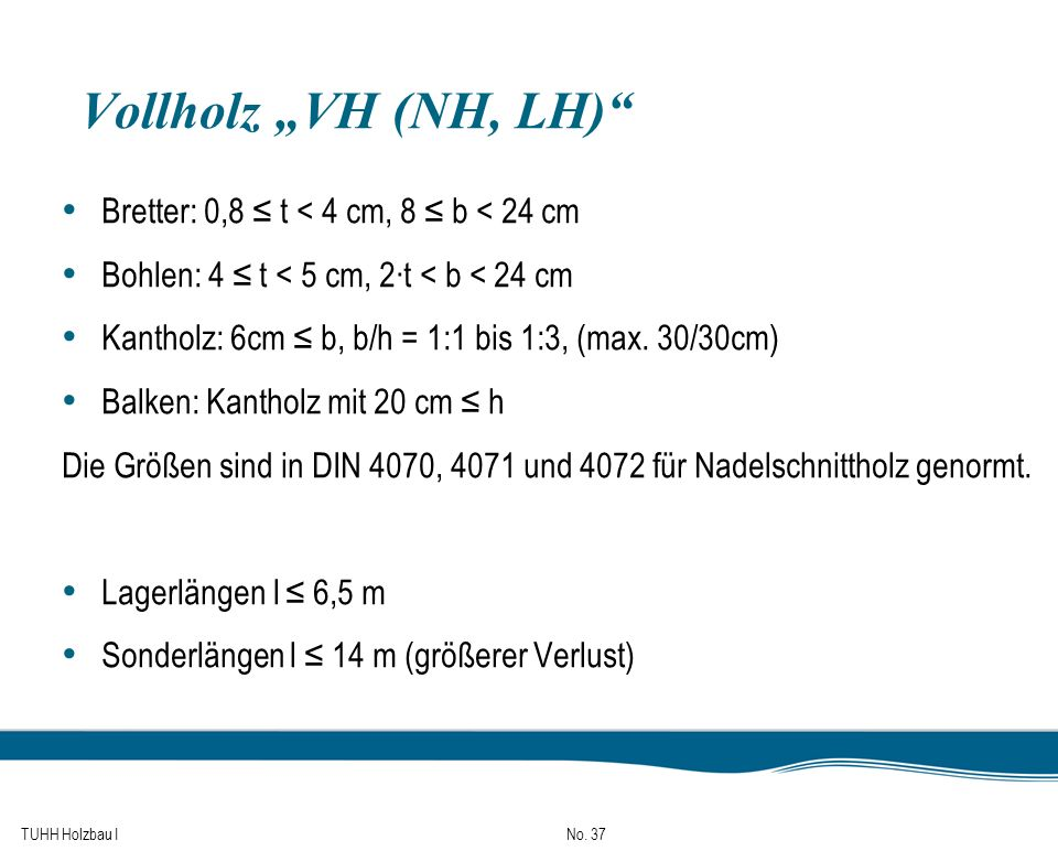 "Vollholz ""VH (NH, LH) Bretter: 0,8 ≤ t < 4 cm, 8 ≤ b < 24 cm"