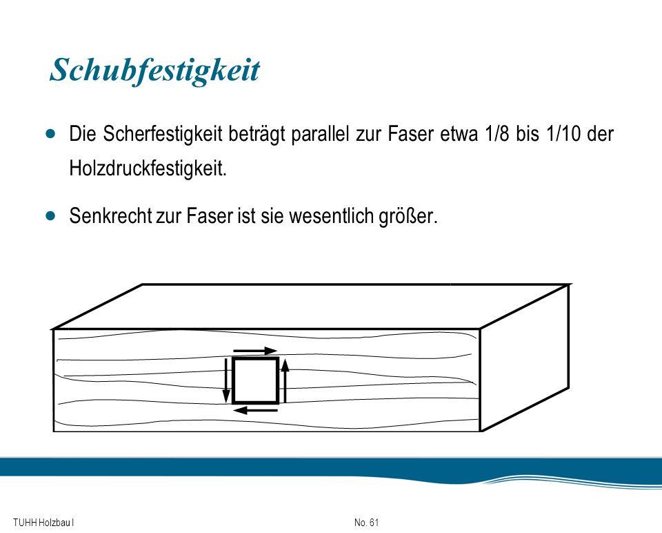 Schubfestigkeit Die Scherfestigkeit beträgt parallel zur Faser etwa 1/8 bis 1/10 der Holzdruckfestigkeit.