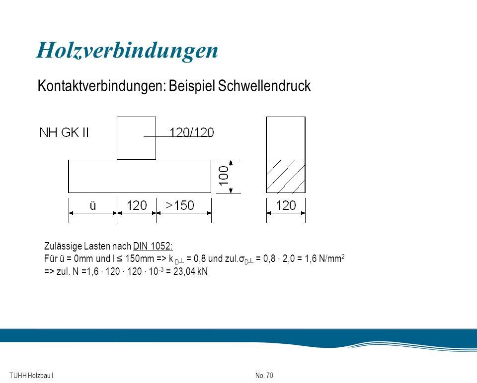 Holzverbindungen Kontaktverbindungen: Beispiel Schwellendruck