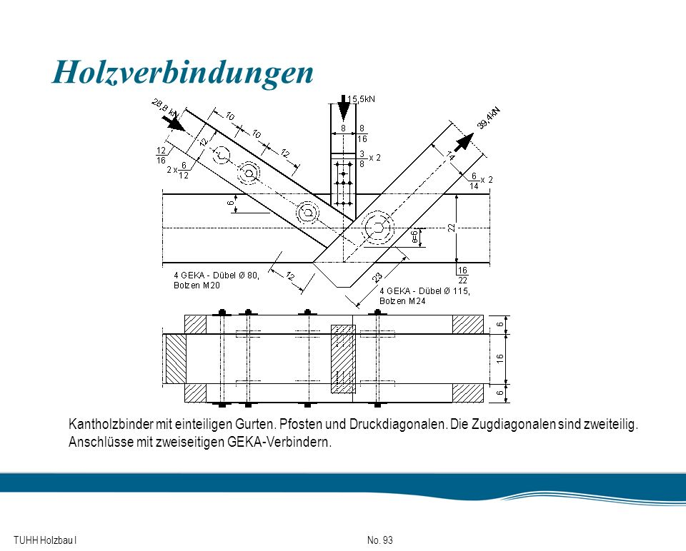 Holzverbindungen Kantholzbinder mit einteiligen Gurten. Pfosten und Druckdiagonalen. Die Zugdiagonalen sind zweiteilig.