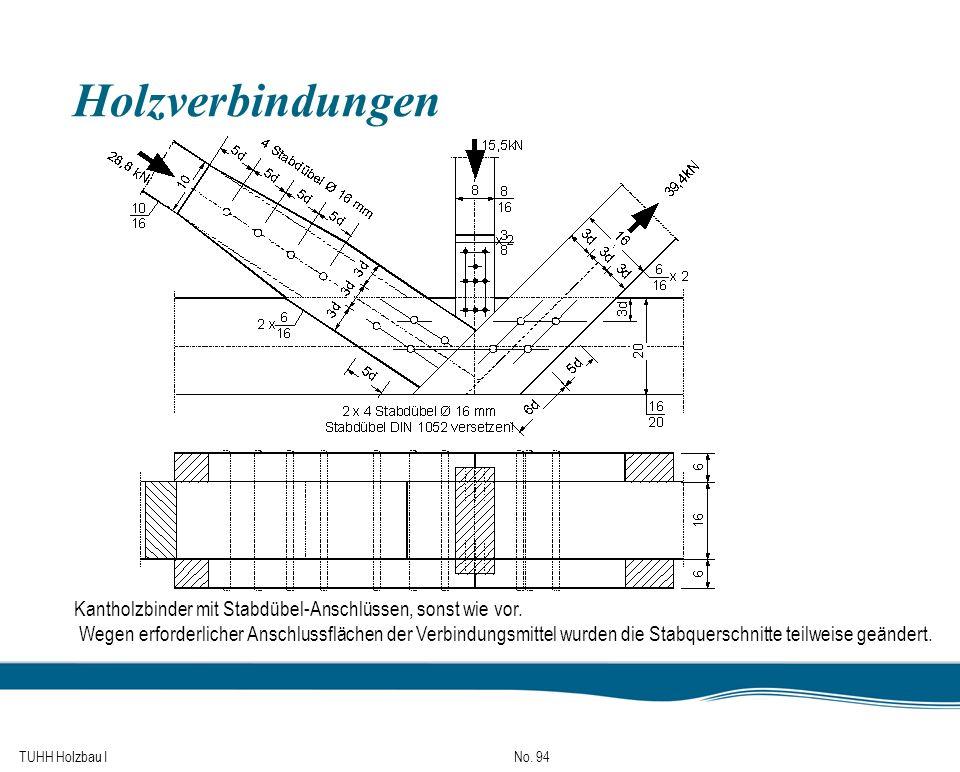 Holzverbindungen Kantholzbinder mit Stabdübel-Anschlüssen, sonst wie vor.