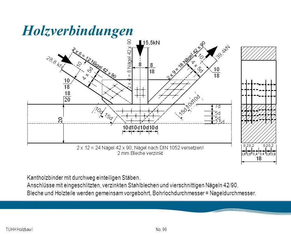 Holzverbindungen Kantholzbinder mit durchweg einteiligen Stäben.