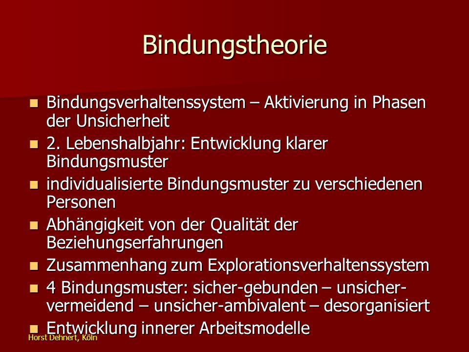 Bindungstheorie Bindungsverhaltenssystem – Aktivierung in Phasen der Unsicherheit. 2. Lebenshalbjahr: Entwicklung klarer Bindungsmuster.