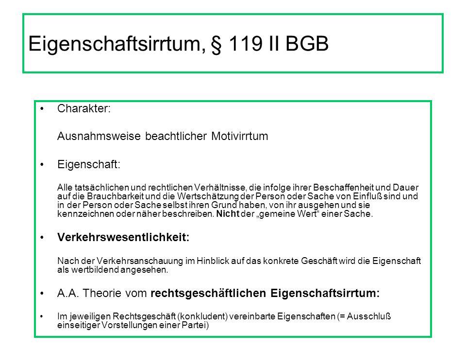 Eigenschaftsirrtum, § 119 II BGB