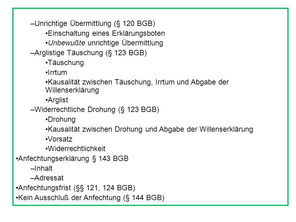 Unrichtige Übermittlung (§ 120 BGB)