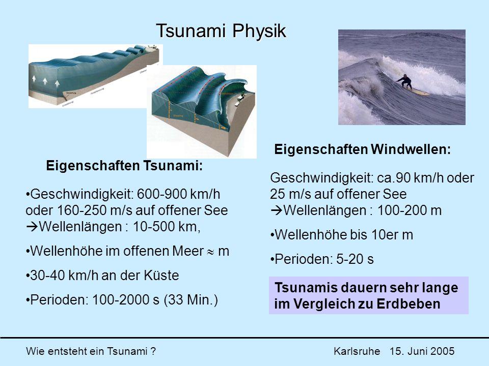Tsunami Physik Eigenschaften Windwellen: Eigenschaften Tsunami: