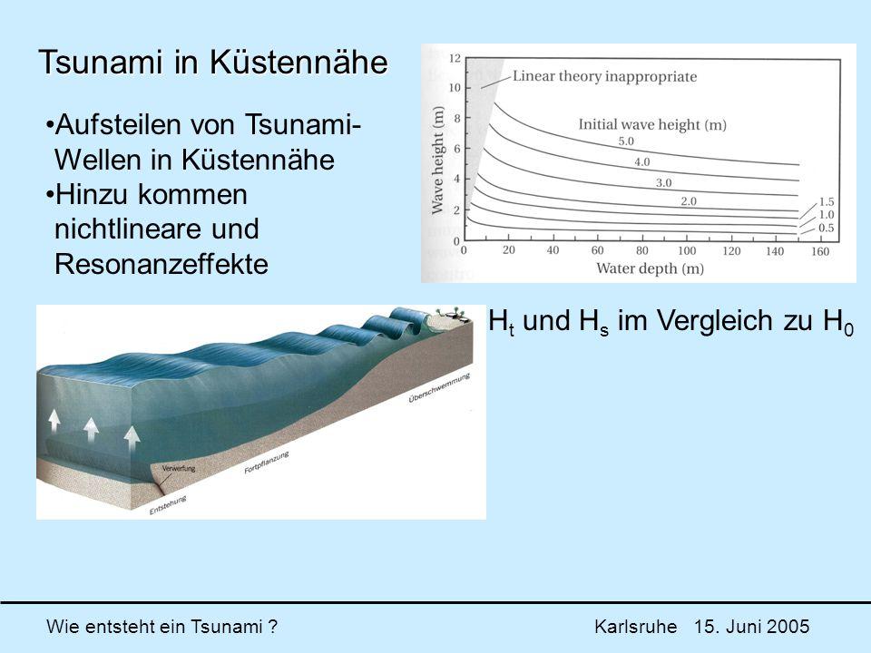Tsunami in Küstennähe Aufsteilen von Tsunami- Wellen in Küstennähe
