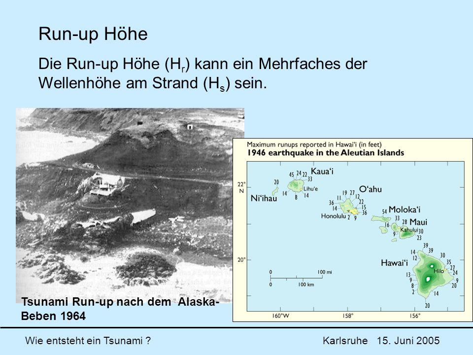Run-up Höhe Die Run-up Höhe (Hr) kann ein Mehrfaches der Wellenhöhe am Strand (Hs) sein.