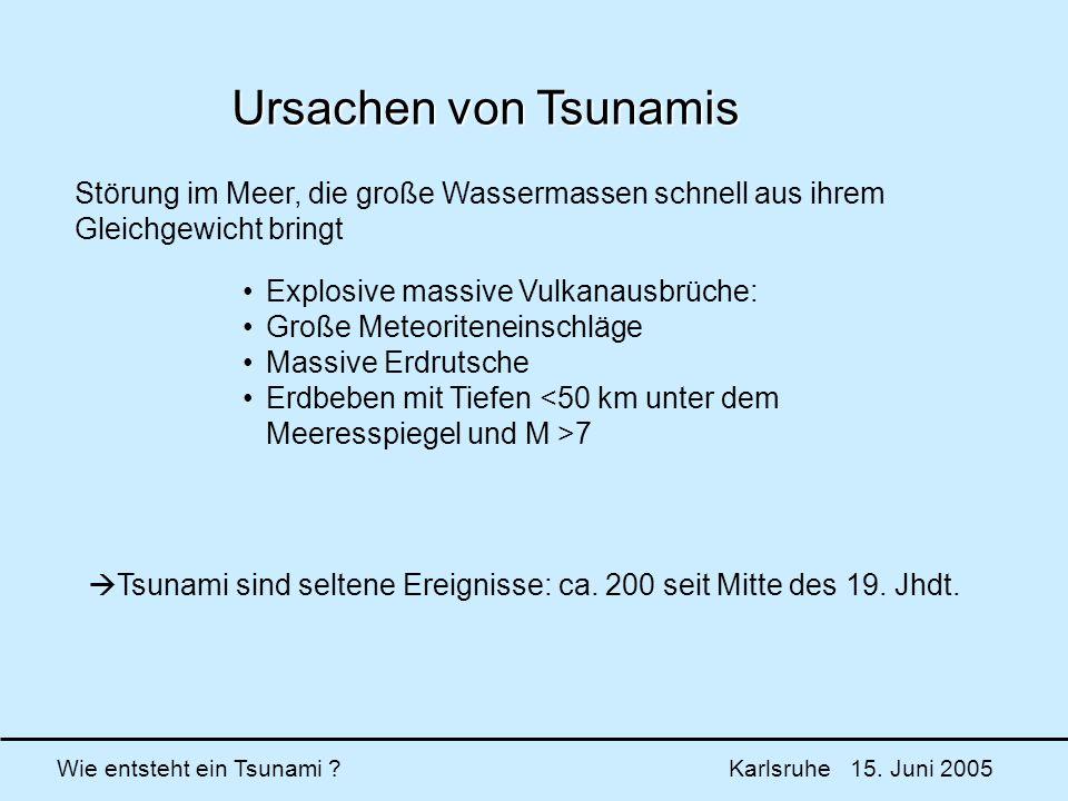 Ursachen von Tsunamis Störung im Meer, die große Wassermassen schnell aus ihrem Gleichgewicht bringt.