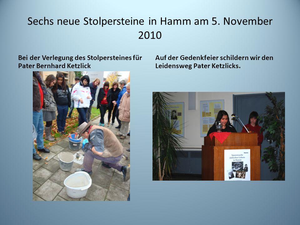 Sechs neue Stolpersteine in Hamm am 5. November 2010