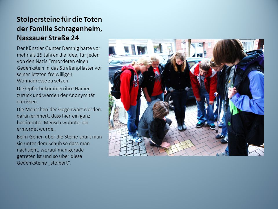 Stolpersteine für die Toten der Familie Schragenheim, Nassauer Straße 24