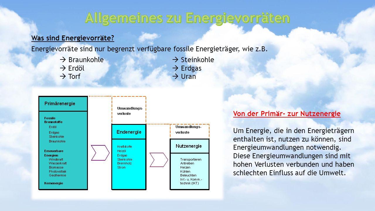 Allgemeines zu Energievorräten