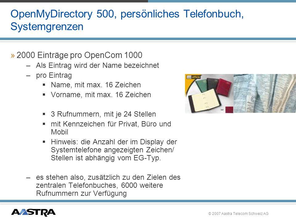 OpenMyDirectory 500, persönliches Telefonbuch, Systemgrenzen