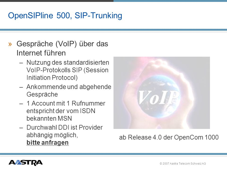 OpenSIPline 500, SIP-Trunking