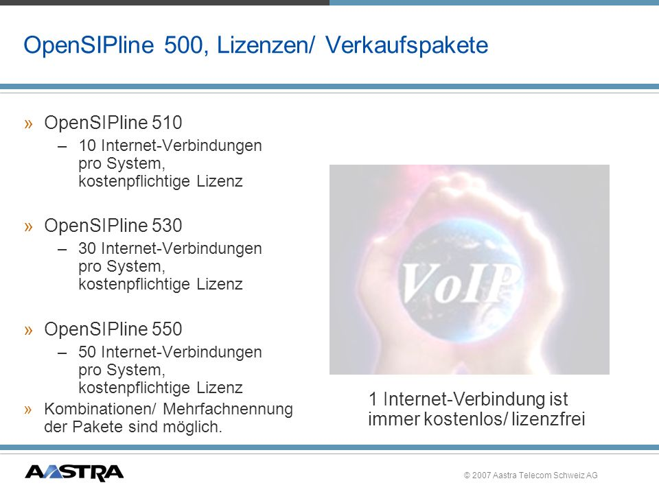 OpenSIPline 500, Lizenzen/ Verkaufspakete