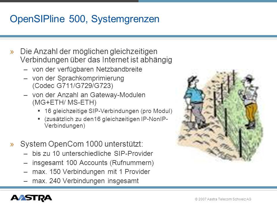 OpenSIPline 500, Systemgrenzen