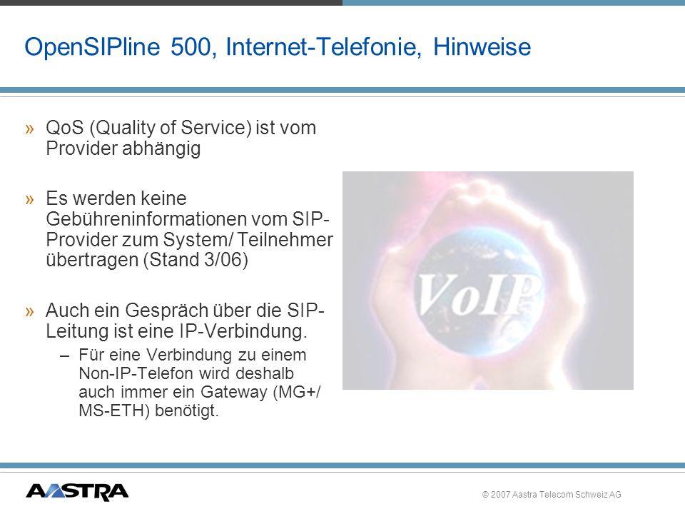 OpenSIPline 500, Internet-Telefonie, Hinweise
