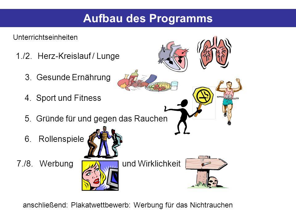 Aufbau des Programms 1./2. Herz-Kreislauf / Lunge 3. Gesunde Ernährung