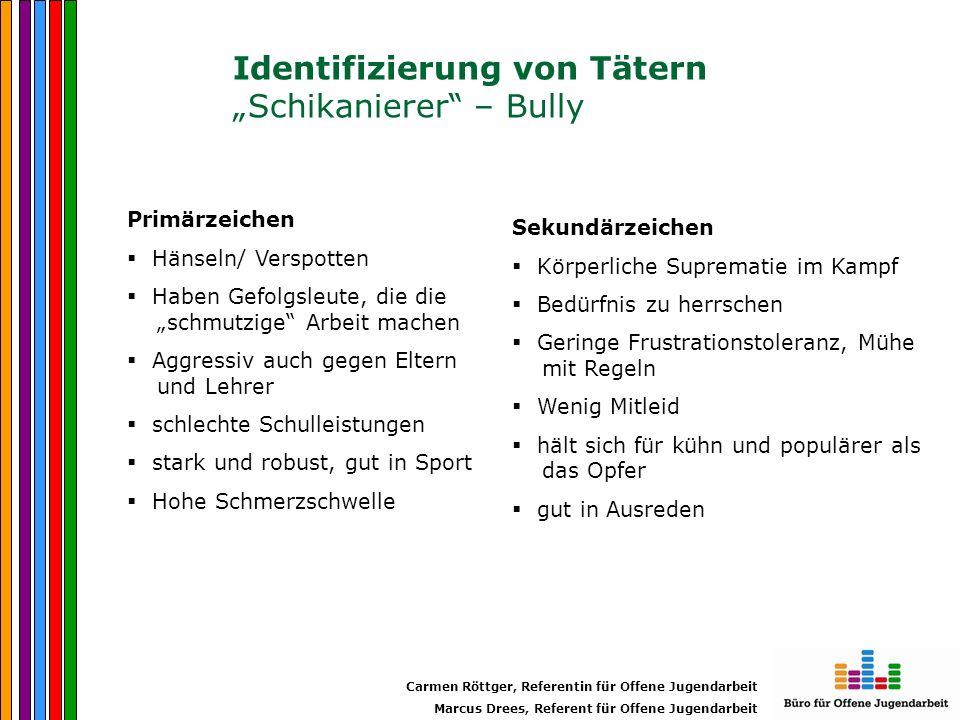 """Identifizierung von Tätern """"Schikanierer – Bully"""