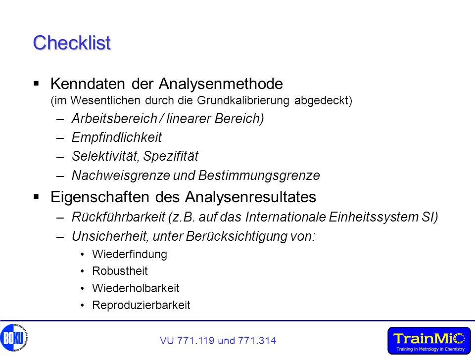 Checklist Kenndaten der Analysenmethode (im Wesentlichen durch die Grundkalibrierung abgedeckt) Arbeitsbereich / linearer Bereich)