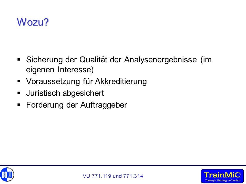Wozu Sicherung der Qualität der Analysenergebnisse (im eigenen Interesse) Voraussetzung für Akkreditierung.