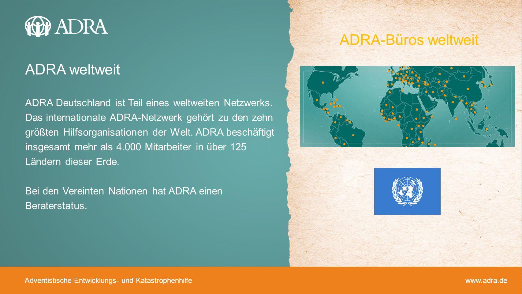 ADRA-Büros weltweit ADRA weltweit