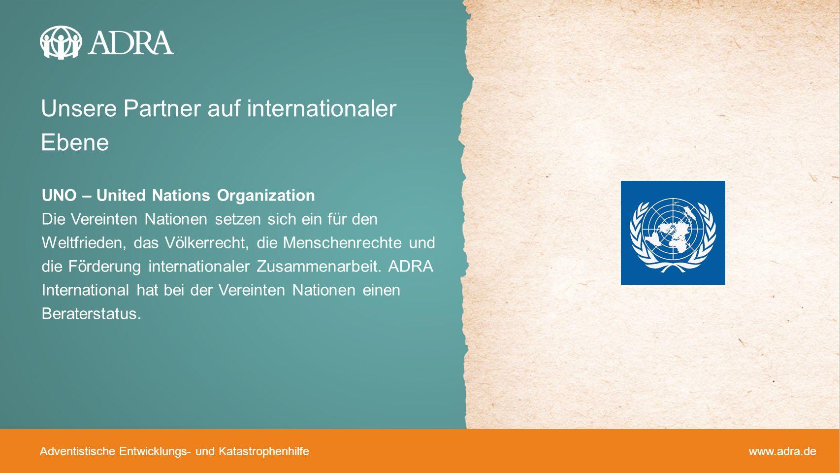 Unsere Partner auf internationaler Ebene