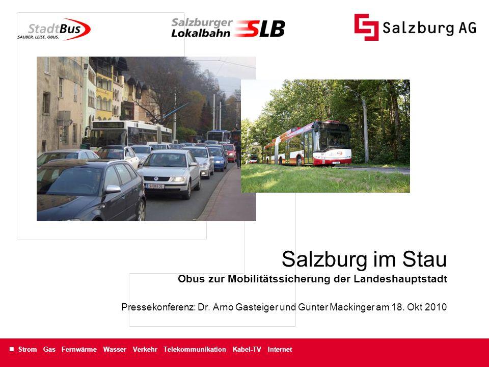 Salzburg im Stau Obus zur Mobilitätssicherung der Landeshauptstadt Pressekonferenz: Dr.