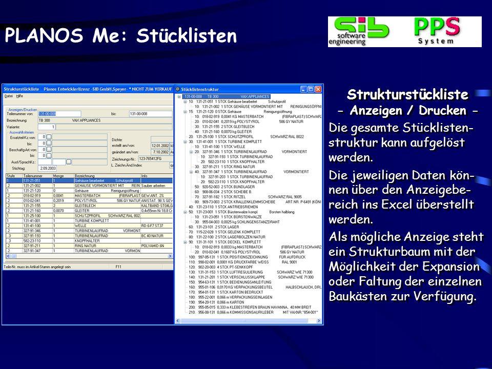 Strukturstückliste - Anzeigen / Drucken -