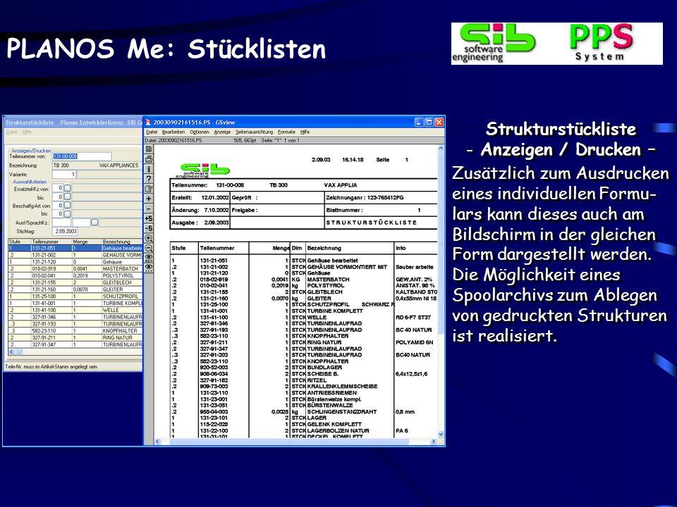 Strukturstückliste Anzeigen / Drucken –