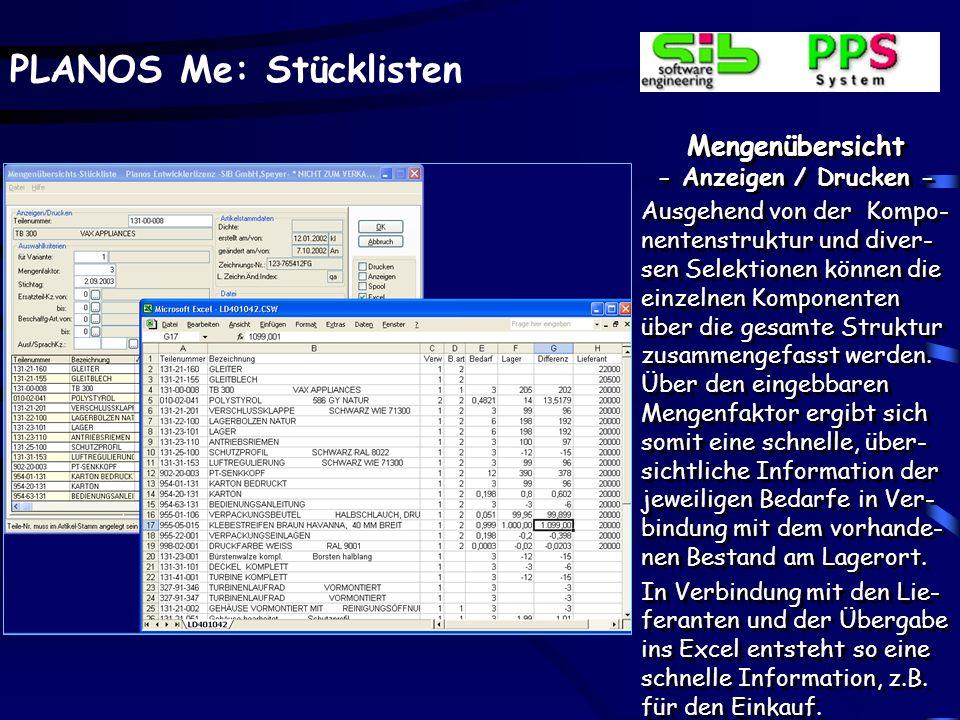 Mengenübersicht - Anzeigen / Drucken -