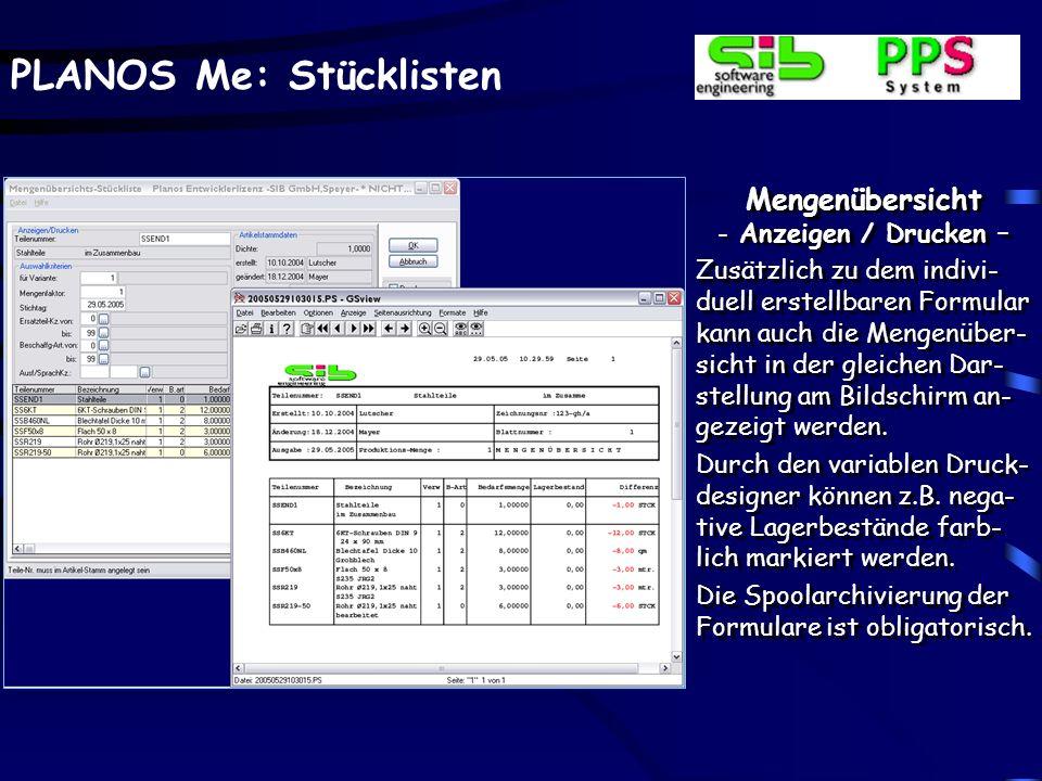 Mengenübersicht Anzeigen / Drucken –