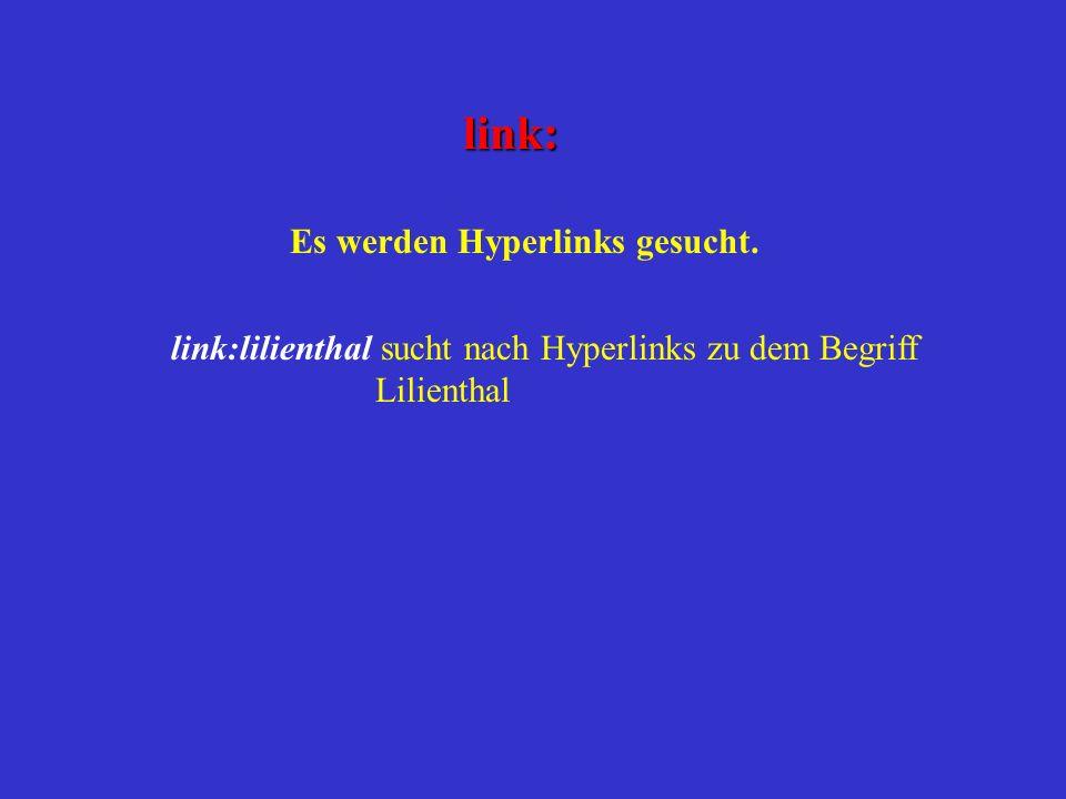 Es werden Hyperlinks gesucht.