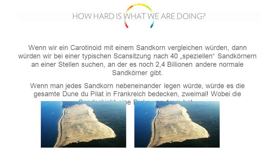 """Wenn wir ein Carotinoid mit einem Sandkorn vergleichen würden, dann würden wir bei einer typischen Scansitzung nach 40 """"speziellen Sandkörnern an einer Stellen suchen, an der es noch 2,4 Billionen andere normale Sandkörner gibt."""