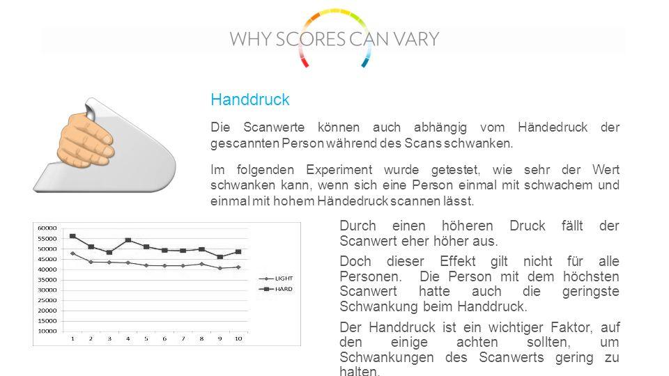 Handdruck Durch einen höheren Druck fällt der Scanwert eher höher aus.