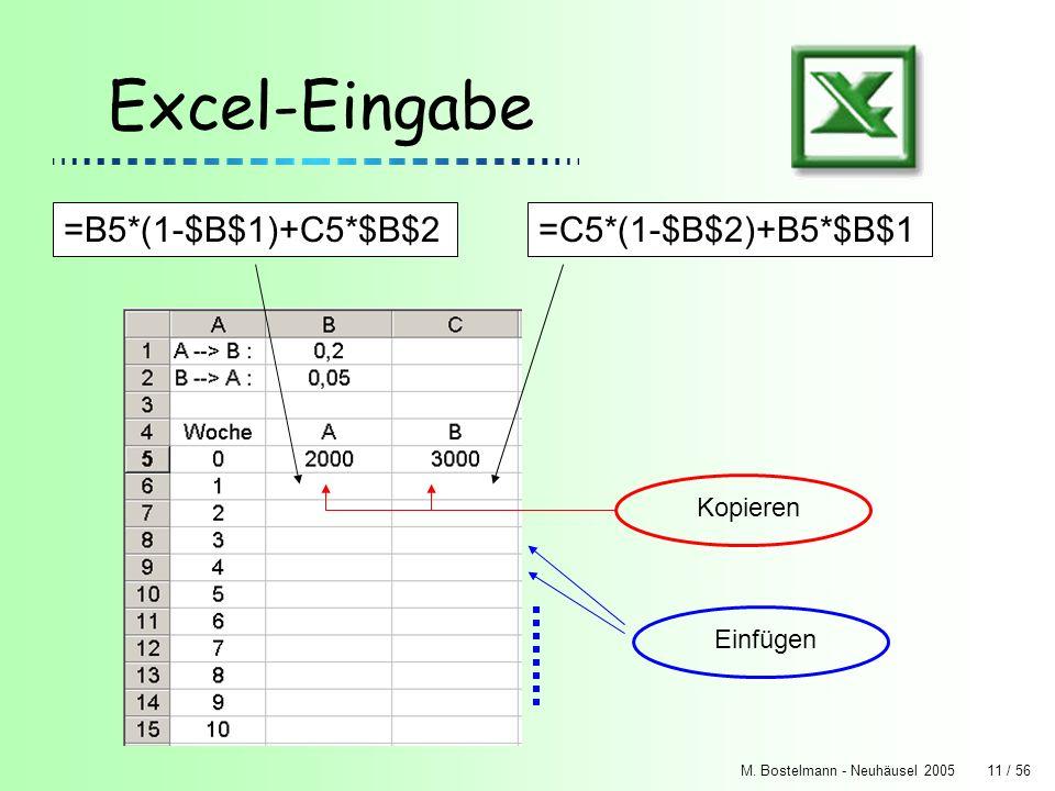 Excel-Eingabe =B5*(1-$B$1)+C5*$B$2 =C5*(1-$B$2)+B5*$B$1 Kopieren