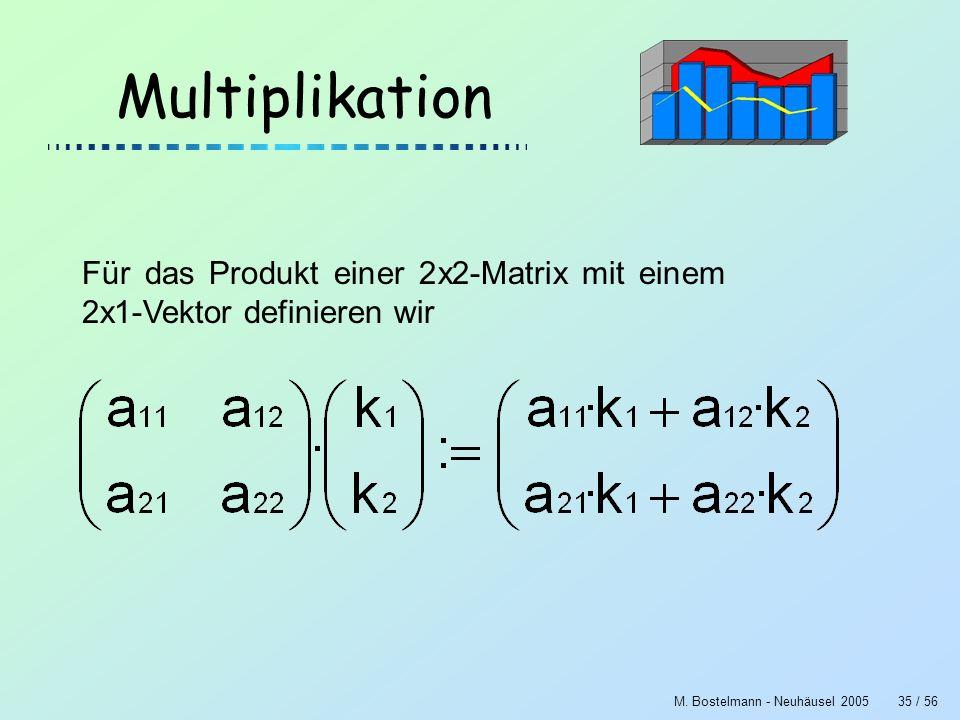 MultiplikationFür das Produkt einer 2x2-Matrix mit einem 2x1-Vektor definieren wir.