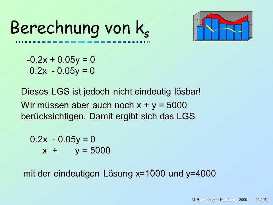 Berechnung von ks -0.2x + 0.05y = 0 0.2x - 0.05y = 0