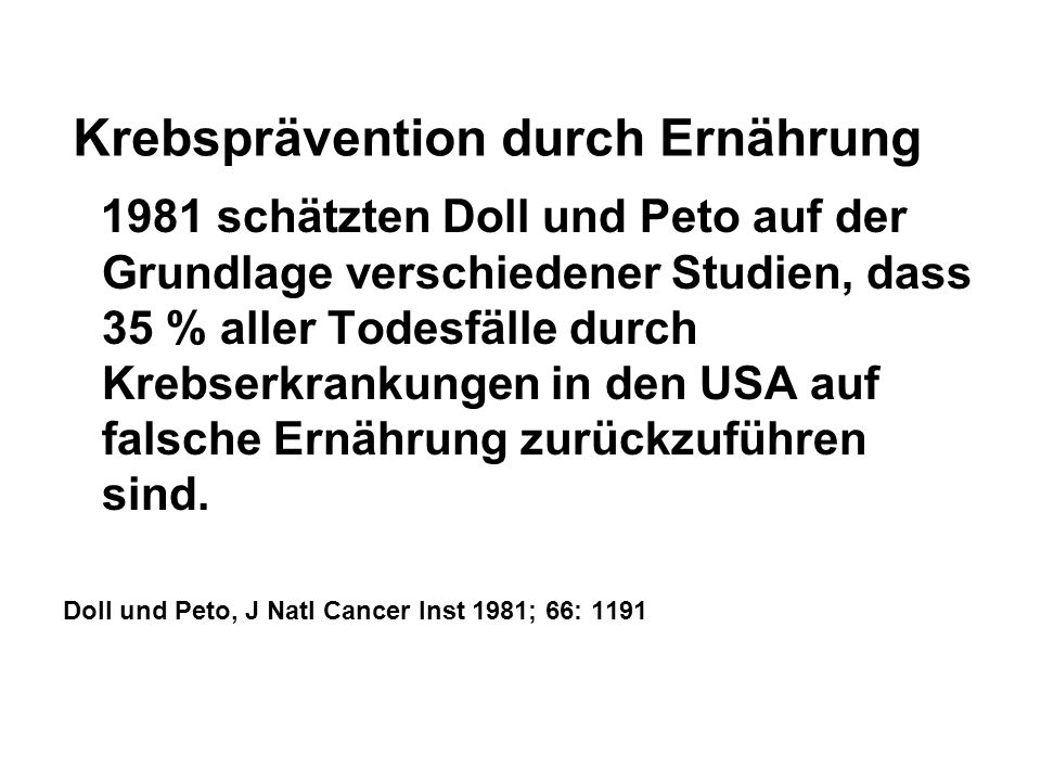 Krebsprävention durch Ernährung