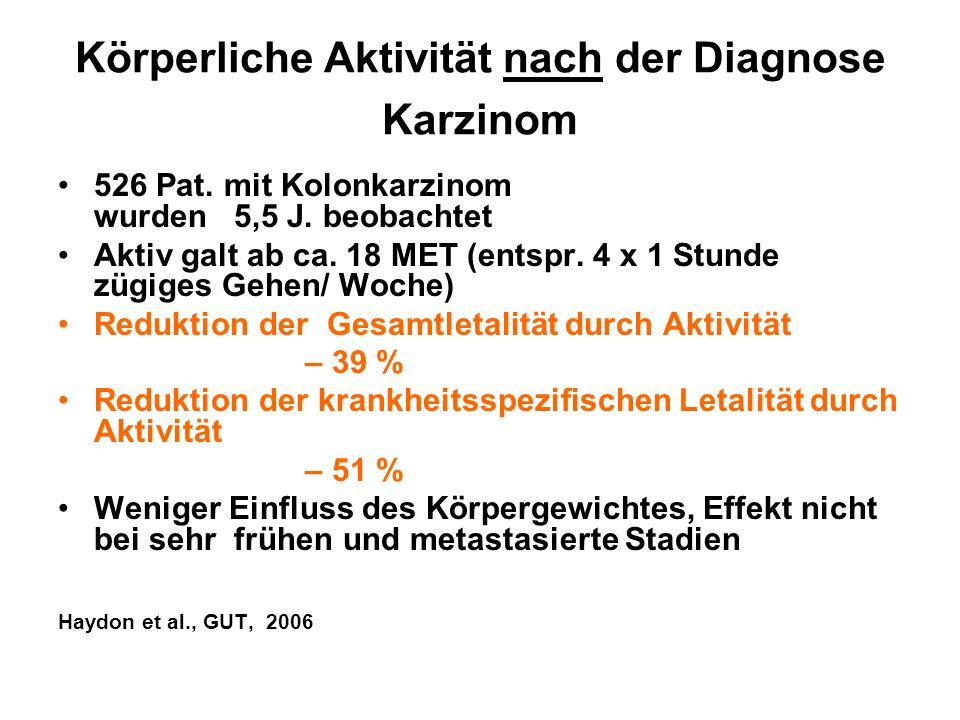 Körperliche Aktivität nach der Diagnose Karzinom