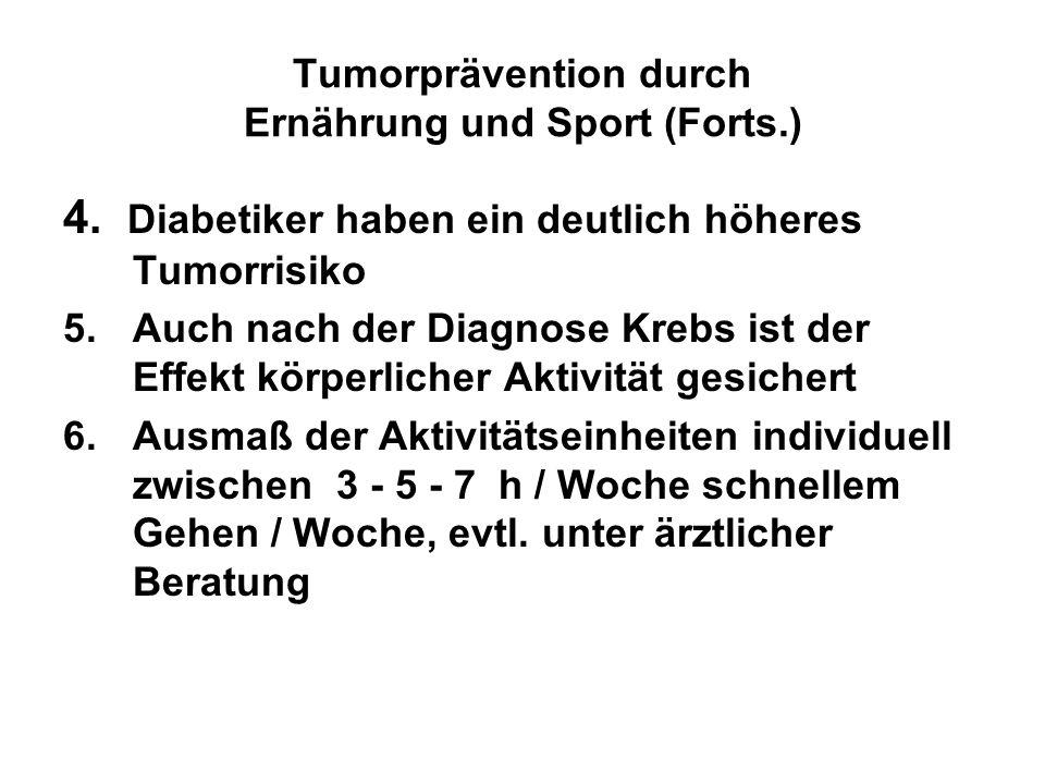 Tumorprävention durch Ernährung und Sport (Forts.)
