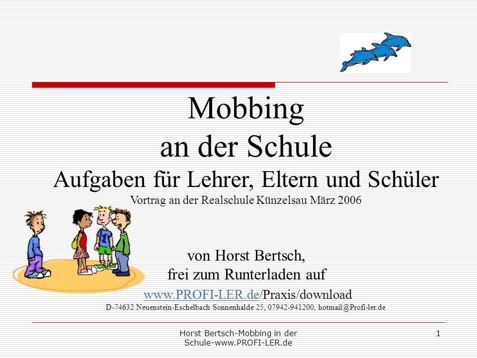Mobbing an der Schule Aufgaben für Lehrer, Eltern und Schüler