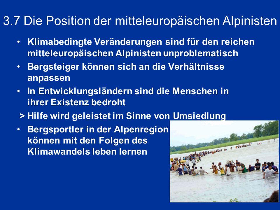 3.7 Die Position der mitteleuropäischen Alpinisten