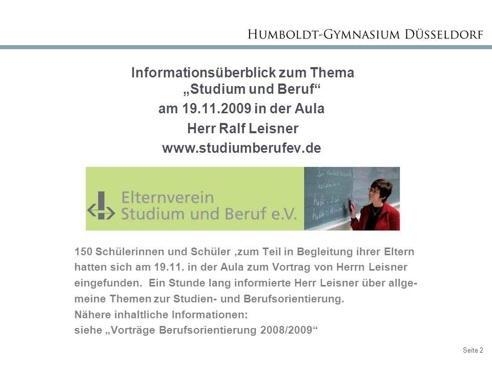 """Informationsüberblick zum Thema """"Studium und Beruf am 19. 11"""
