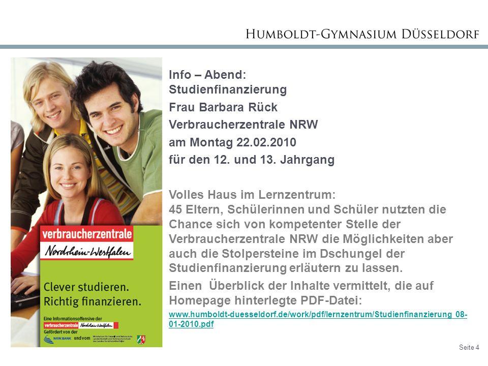 Info – Abend: Studienfinanzierung Frau Barbara Rück