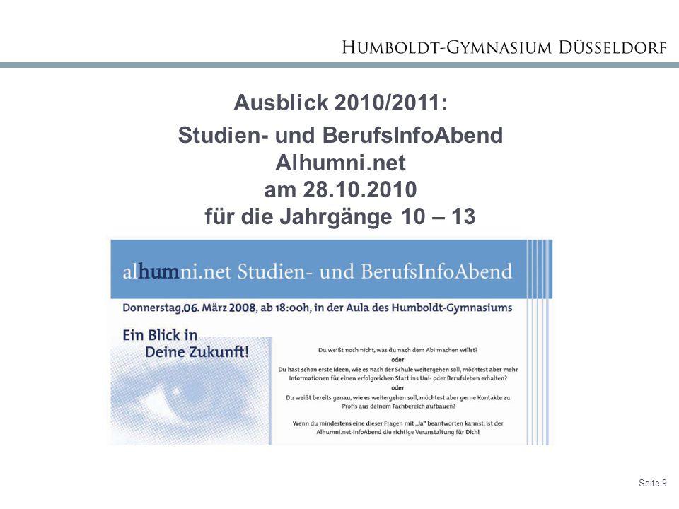 Ausblick 2010/2011: Studien- und BerufsInfoAbend Alhumni.net am 28.10.2010 für die Jahrgänge 10 – 13.