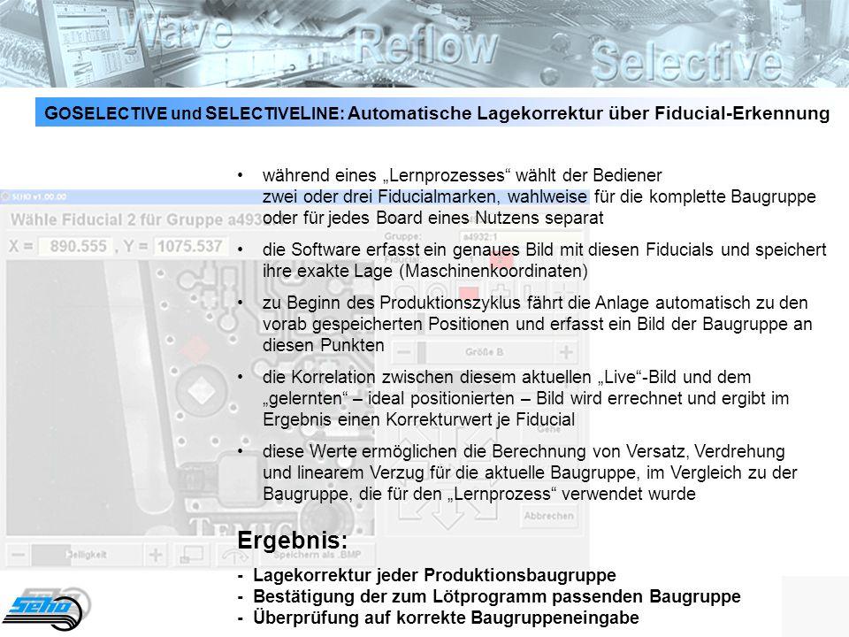 GOSELECTIVE und SELECTIVELINE: Automatische Lagekorrektur über Fiducial-Erkennung