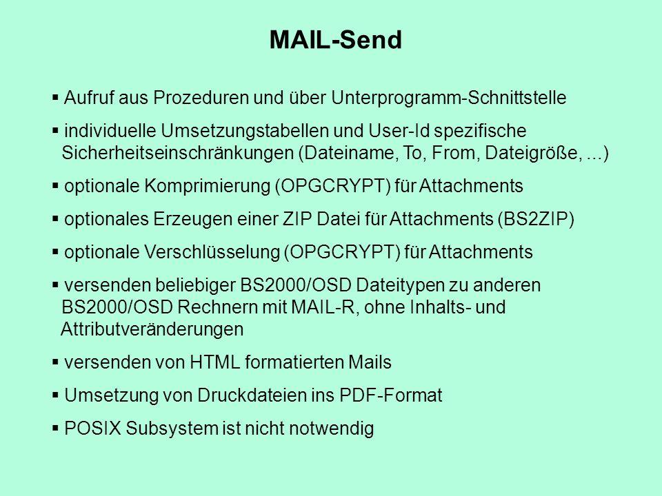 MAIL-Send Aufruf aus Prozeduren und über Unterprogramm-Schnittstelle