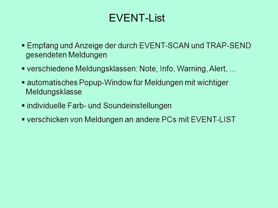 EVENT-List Empfang und Anzeige der durch EVENT-SCAN und TRAP-SEND gesendeten Meldungen.